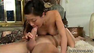 Dainty Asian beauty Leandra Lee sucks thick white dick