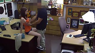 Redhead pretty babe Jenny make out with the horny pawnshop staff