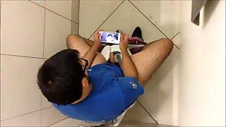 masturbating in the stall