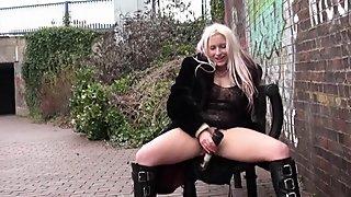 English Blondes Public Sex Toys with Kaz B masturbating