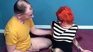 An older guys fucks and facials a tattooed teen redhead