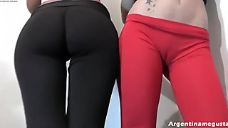 Girlfriends in Tight Pants! Double Cameltoe! 2 Round Asses!
