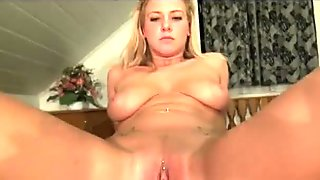 Busty blonde skier is paid to come back to the lodge and fuck