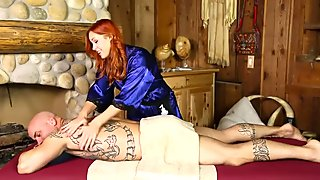 Redhead bitch with tattoos gets her snatch poked hard