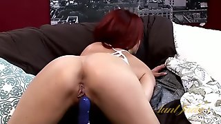 Fantastic redhead babe with shaved pussy loves touching herself